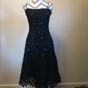 Betsey Johnson Black lace and Teal dress